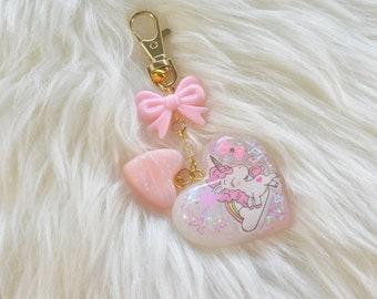 Heart UnicornResin Keychain/bag charm