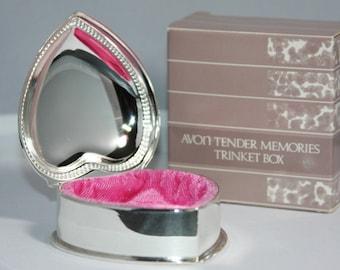 Vintage Avon 1987 Tender Memories Silver & Pink Heart Shaped Trinket Box