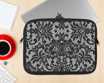 The Black and White Lace Pattern10867032_xl Dye-Sublimated NeoPrene MacBook Laptop Sleeve Carrying Case
