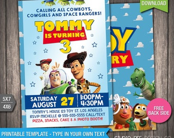 Toy Story 3 Invitation - 50% OFF - INSTANT DOWNLOAD - Printable Disney Toy Story 3 Invite - Toy Story - DiY Personalize & Print - (TSin03)