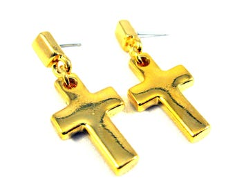Vintage New Old Stock Gold Plated Dangle Cross Earrings