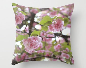 Cherry Blossom, Girls Room Decor, Pink Pillow, Teen Girl Room Decor, Velvet Pillow, Pink Cushion, Cherry Blossom Tree, Floral, 18x18, 22x22