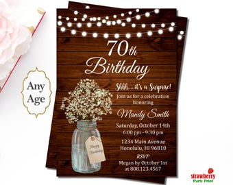 70th Birthday Invitation for Women, Surprise Birthday Party Invitation, Rustic Birthday Invitation, Mason Jar Floral, A47
