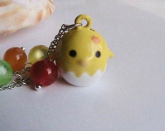 Cute Yellow Chick Necklace, Hatching chick, chicken, Easter