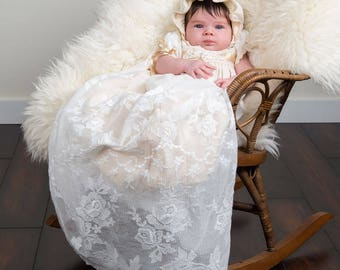 Louisa Baptismal Gown, Vintage Gown Style, Girls Christening Gowns