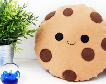 Happy Cookie Cushion, Milk Choc Chip, Soft Toy, Felt Cushion, Food Pillow, Smiling Face Biscuit, Home Decor, Kawaii Pillow, Kids Room Decor