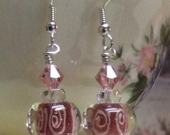 Rasberry Encased Bubble Lampwork Earrings