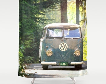 Fabric Shower Curtain - Classic Retro VW bus camper, Peace, Love, Nature, Original photography by RDelean Designs