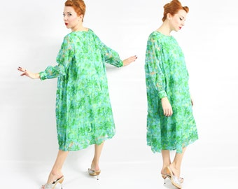 60s  Floral Tent Dress | Green Print Party Dress | Trapeze Dress | Volup | Extra Large