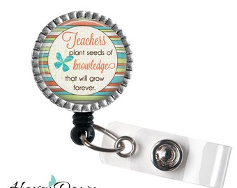 Teacher ID Badge Reel, Teacher Appreciation Gift, Retractable Badge Holder