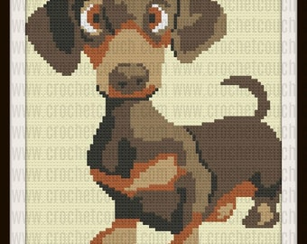 C2C Graph, Dachshund Pup Afghan, C2C Graph, with Written Word Chart, Dachshund graph, Dachshund C2C