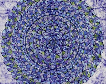 "Circle Game batik (20""x 20"" )  Image size Giclee print on acid free paper with 1/4"" white border"
