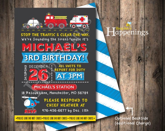 First responders birthday invitation first responders invite filmwisefo
