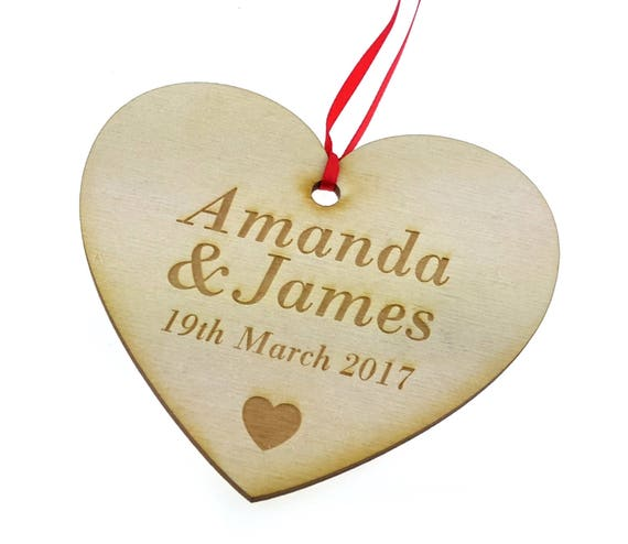 Personalised Wooden Heart Wall Hanging Plaque Gift for