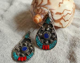 Tibetan ethnic earrings - Turquoise, Coral and Lapis Lazuli