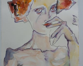 Woman with red hair-watercolour No. 24-2009