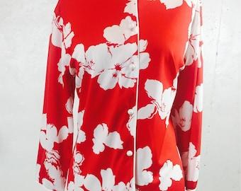Vintage 1970s Teddi of California Red and White Floral Mandarin Collar Hawaiian Blouse/Plus Size