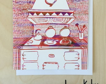 Heart of the Home Blank Greetings Card in red / Blank Card / Food Lover Card / Notecard / Red Card / Aga Cooker / Illustrated Card