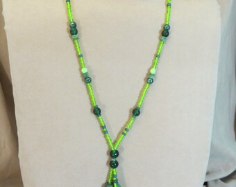 Natural Long Beaded Necklace Handmade Bright Greens Unique OOAK 31""