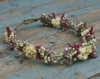 Boho Berry Dried Flower Hair Crown