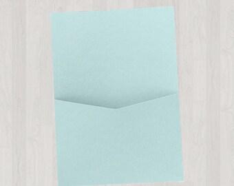 10 Flat Pocket Enclosures - Light Blue - DIY Invitations - Invitation Enclosures for Weddings and Other Events