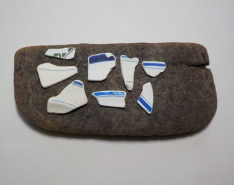 8 Old Sea Pottery - Small  Beach Pottery - Beach Pottery Shards - Beach Finds #47