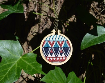 Aztec Necklace, Geometric Necklace, Mini Embroidery Hoop Necklace, Statement Jewellery, Fabric Necklace, Embroidered Jewellery