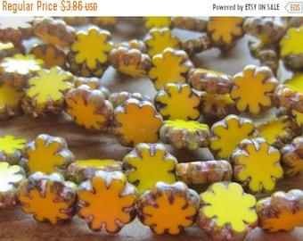 ON SALE Czech Glass Bead Flat Cactus Flower Sunshine Yellow Picasso Finish 9mm QTY 10