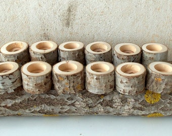 Set of 12 - Tree Branch Candle Holders -   - Wood Candle holders -  sticks for votive candles - Wedding Centerpiece - Wedding Decoration