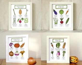 Kitchen Art - Set of 4 8x10 vegetables art prints '4 seasons' Food