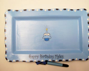 Ceramic RECTANGLE Signature Plate for 1st BIRTHDAY CUPCAKE