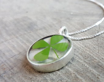 Real Four-Leaf Clover Necklace - Pressed Green Clover on Birch Bark Necklace - Nature Jewelry