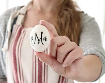 Monogram Easter Eggs . personalized eggs . ceramic eggs . monogram eggs . ceramic eggs . hand lettered decor . ceramic chicken eggs