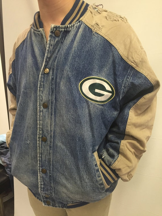 Distressed Green Bay Packers Lee Sport Denim Varsity Jacket XL gUUXg