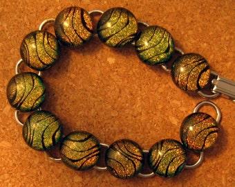 Dichroic Bracelet Fused Glass Bracelet Dichroic Jewelry Fused Glass Jewelry Animal Print