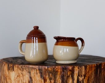 1970s Natural Clay Cream and Sugar Set with Dual Tone Brown Stripe at the Top
