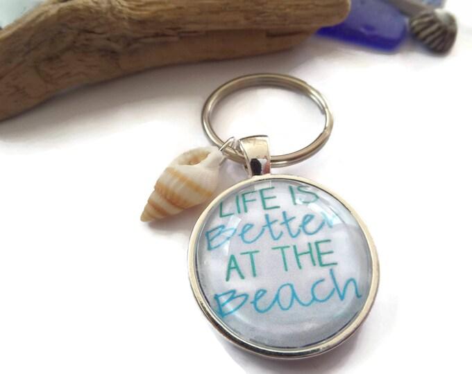 25mm Beach themed glass dome keyring, beach gift, better at the beach, seaside gift, mermaid gift, seashell gift,  novelty keyring gift