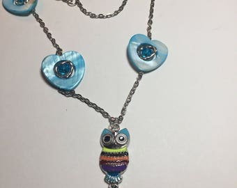 Multicolor Owl and Heart Necklace