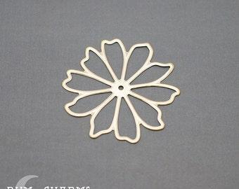 0042 - Pendant Connector, Matte Gold, Large Daisy Flower Pendant, 2 Pieces