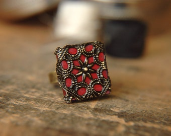 Boho Lace Ring Filigree Victorian Inspired Hand Crafted Adjustable Band - The Scarlet Pimpernel - Nickel Free