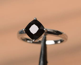 natural black spinel ring engagement ring black gemstone cushion cut gems sterling silver ring solitaire ring