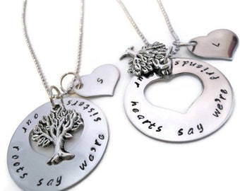Side by side or miles apart puzzle piece necklace set of 3 matching sister necklaces necklace set for sisters sister jewelry our roots say were sisters our hearts say were friends aloadofball Image collections
