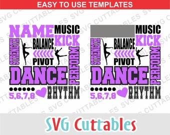 Dance SVG, Dance Subway Art svg, dxf, eps, dance cut file,  dance template svg, dance team, Silhouette, Cricut cut file, digital download