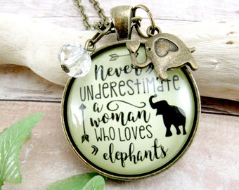 Never Underestimate A Woman Who Loves Elephants Necklace / Keychain Strong Women Jewelry Baby Elephant Charm Gift For Her, Strong Woman