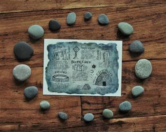 Ancient Celtic Stones - 5x7 Megalithic Watercolor Print