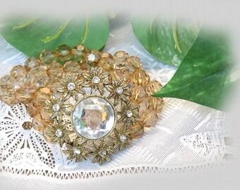 vintage 3 Strand Beaded Gold crystal Bracelet, Boho Bracelet, Glass Pendant Bracelet, Women's Bracelet, Neutral Tone bracelet,  -  # J 4