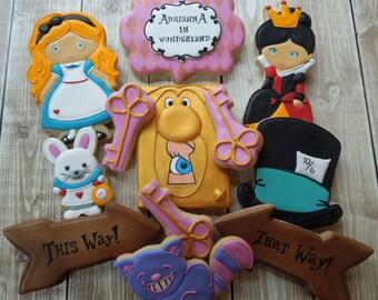 Alice in Wonderland Cookies, Alice Cookies, Alice in Wonderland, Cookie Favors, Birthday, Girls