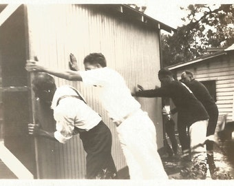 "Vintage Snapshot ""Raising The Barn"" House Building Repair Construction Found Vernacular Photo"
