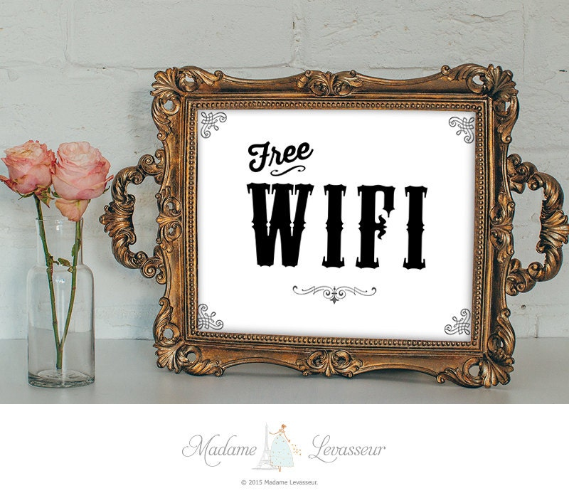 This is a graphic of Sassy Printable Wifi Sign