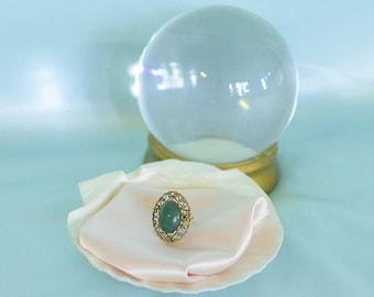 vintage 1970s jade stone & filigree ring